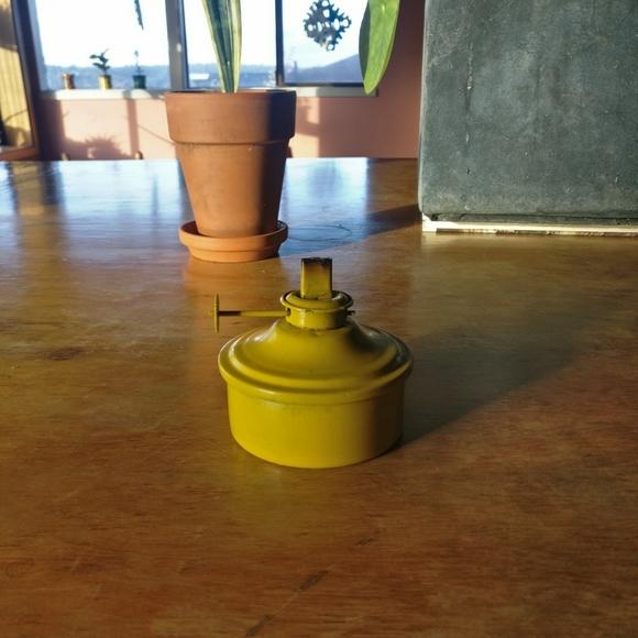 Yellow Metal Gas Lamp / outdoor / vintage